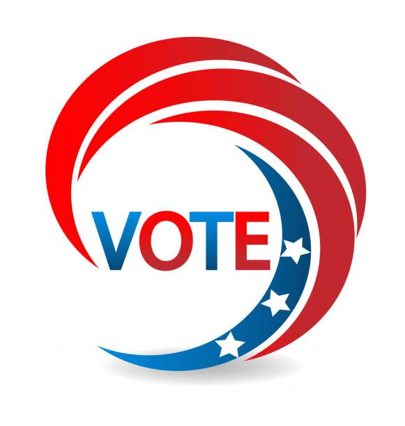 illustrations, cliparts, dessins animés et icônes de voter avec swooshed design d'icône américaine usa flag illustration - vote