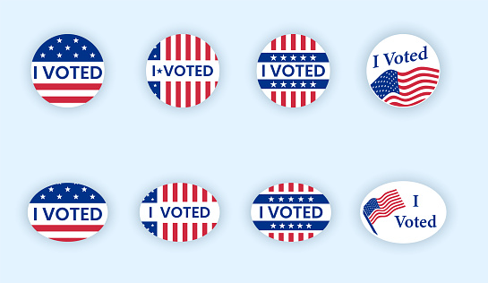 I voted sticker with flattering us american flag.