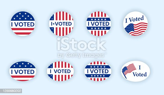 I voted sticker collection. Vote badges on election day. Circle vote sticker or label. US, USA, american election, voting sign. I voted quote. Responsible voting badge or pin. vector illustration