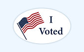 istock I voted sticker with us american flag. 1204426739