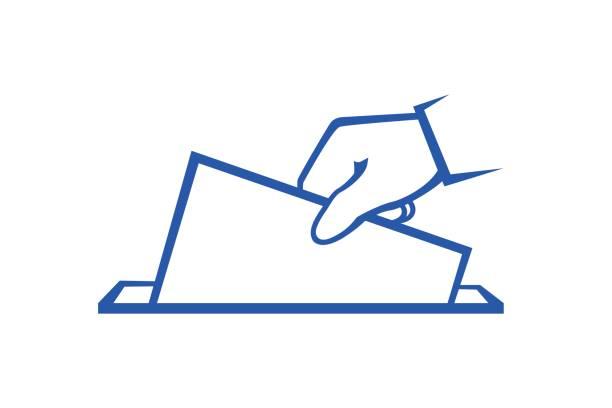 ilustraciones, imágenes clip art, dibujos animados e iconos de stock de votante es tirar boleta - polling place