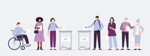 voters in masks casting ballots at the polling place. men and women putting paper ballots to election box. election during a pandemic. - vote stock illustrations