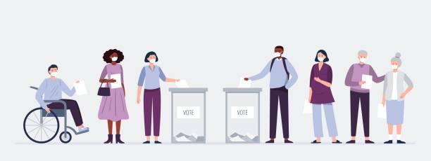 stockillustraties, clipart, cartoons en iconen met kiezers in maskers die stemmingen op de opiniepeilingsplaats gieten. mannen en vrouwen zetten papieren stembiljetten op de verkiezingsbox. verkiezing tijdens een pandemie. - vote