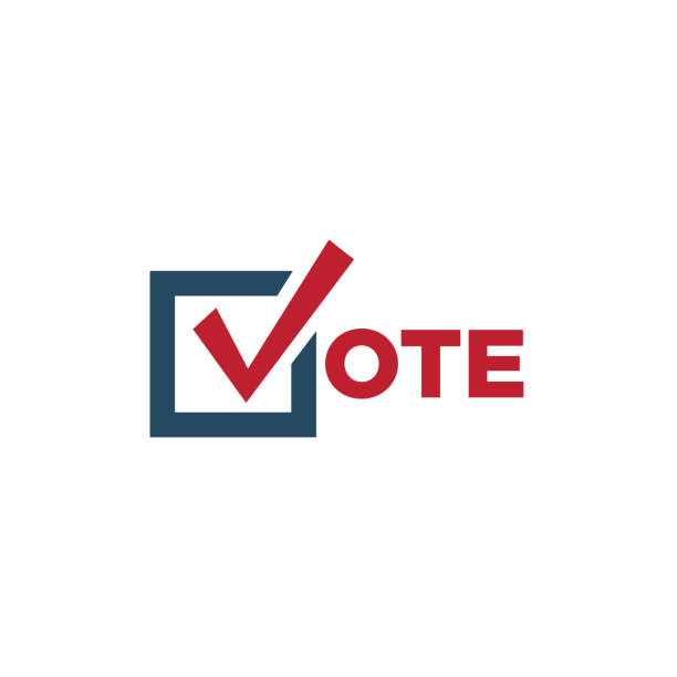 voting 2020 icon with vote, government, & patriotic symbolism and colors - vote stock illustrations