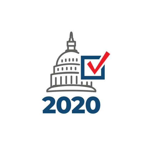 vote, hükümet, ve vatansever sembolizm ve renkler ile oy 2020 simgesi - election stock illustrations