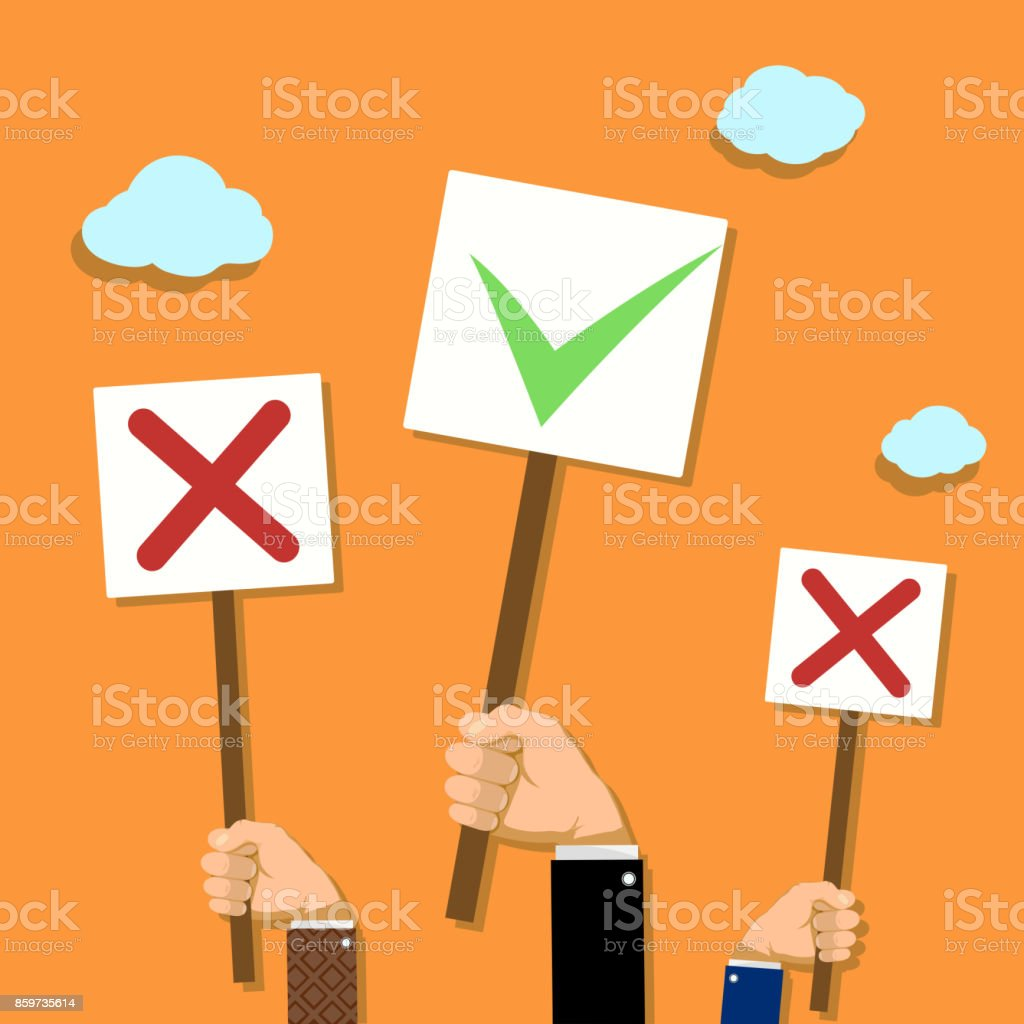 Voting and demonstrations. vector art illustration