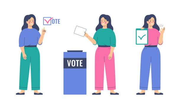 bildbanksillustrationer, clip art samt tecknat material och ikoner med röstning och valkoncept. flickan lägger pappersvalsedeln i valurnan. - unga kvinnor