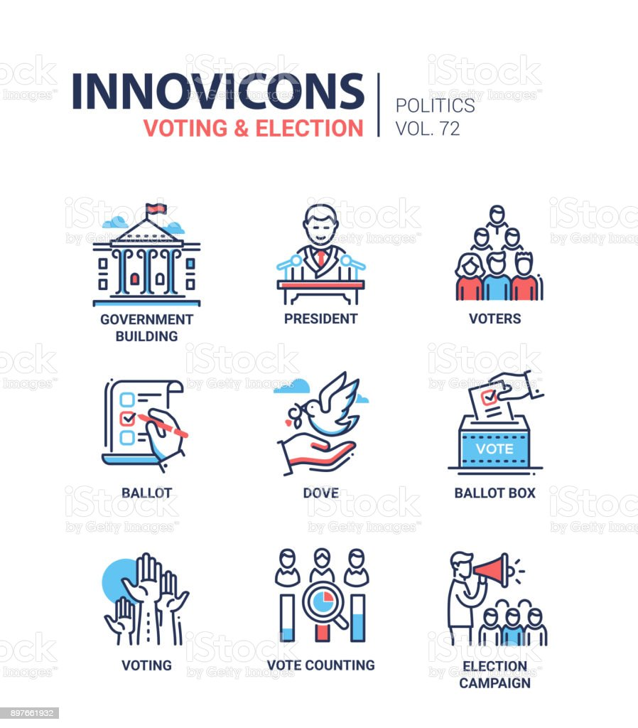 Voting and election - set of modern thin line design icons royalty-free voting and election set of modern thin line design icons stock illustration - download image now