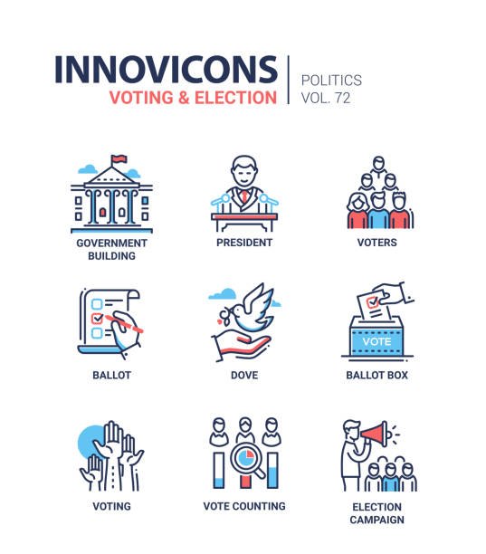 Voting and election - set of modern thin line design icons Voting and election - set of modern thin line design icons on white background. High quality red and blue pictograms. Government building, president, voters, ballot box, dove, counting, campaign voting stock illustrations