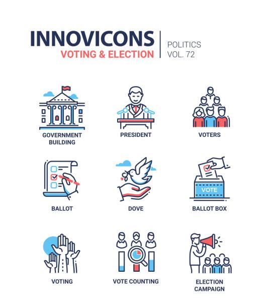 stockillustraties, clipart, cartoons en iconen met stemmen en verkiezing - set van pictogrammen in de moderne dunne lijn - vote