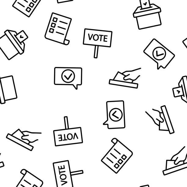 ilustrações de stock, clip art, desenhos animados e ícones de voting and elections vector seamless pattern - democracy illustration