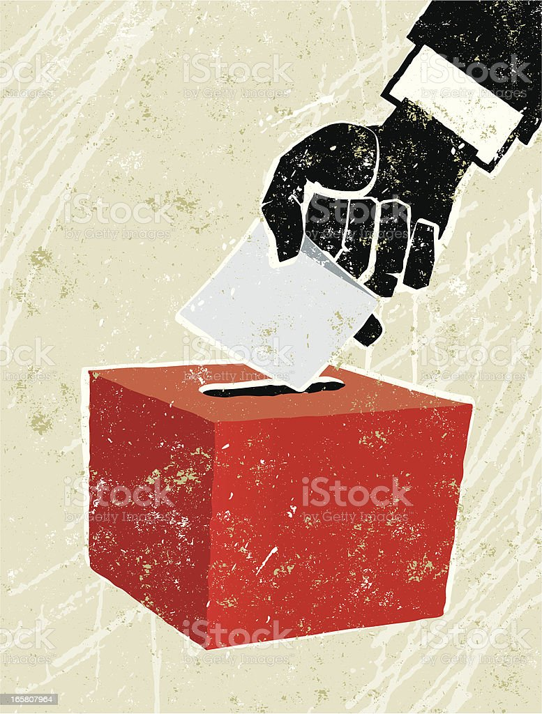 Voting at the Ballot Box vector art illustration