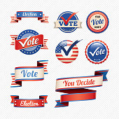 Vector illustration of badge / banner icons with a voting and election theme