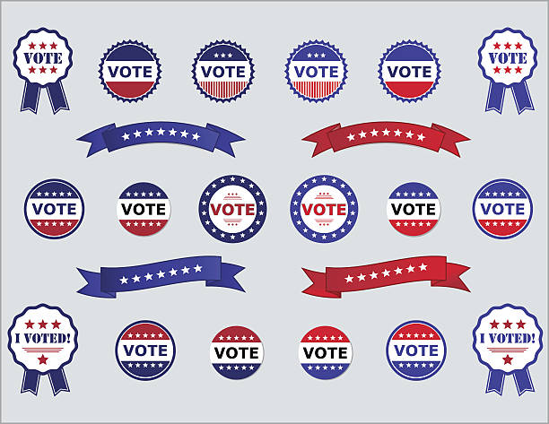 Voting Badges and Stickers for Elections Voting Badges and Stickers for Elections in USA red, white and blue presidential candidate stock illustrations