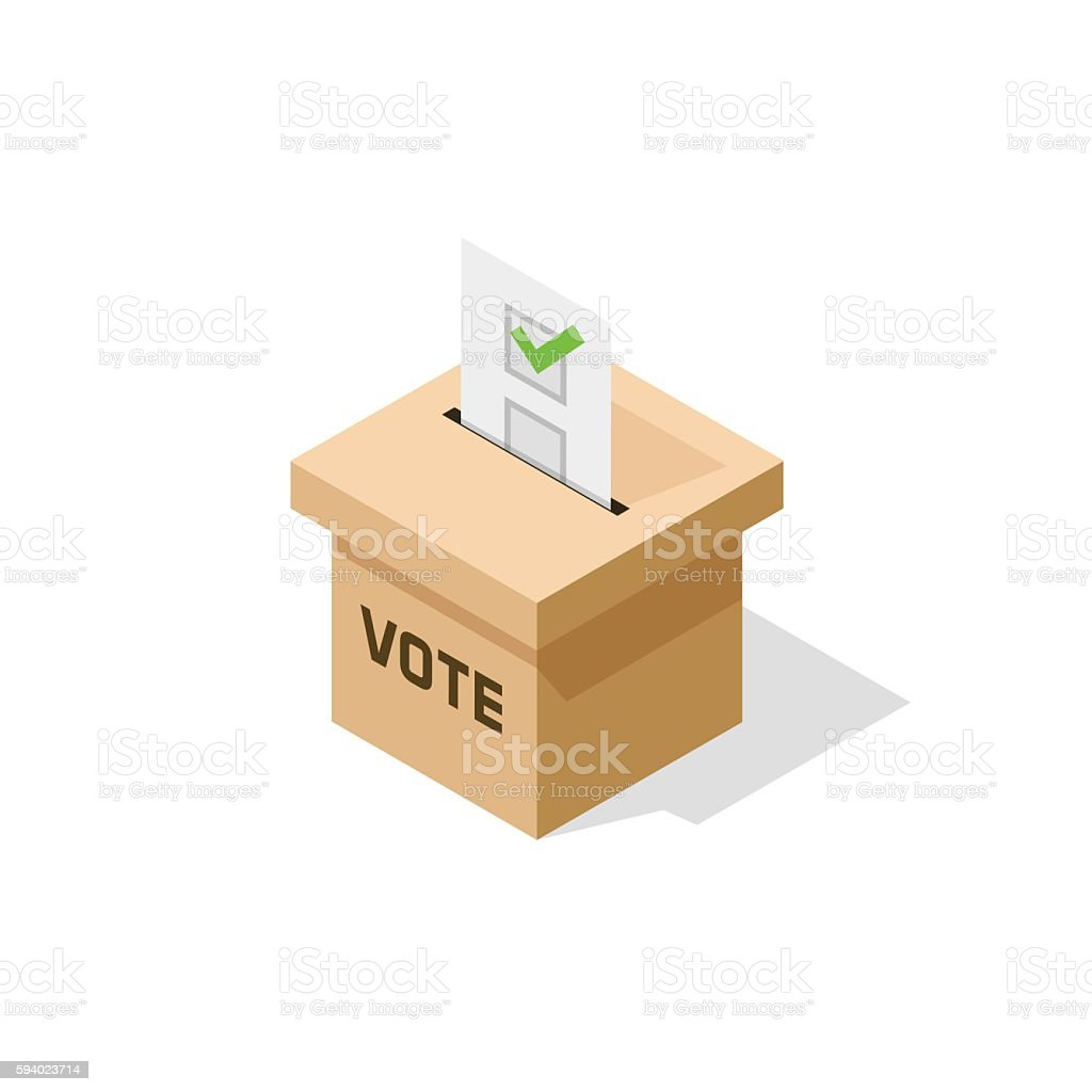 Voting ballot box isometric vector icon with paper sheet vector art illustration