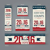 Voting Banners vector set design. US presidential election in 2016.
