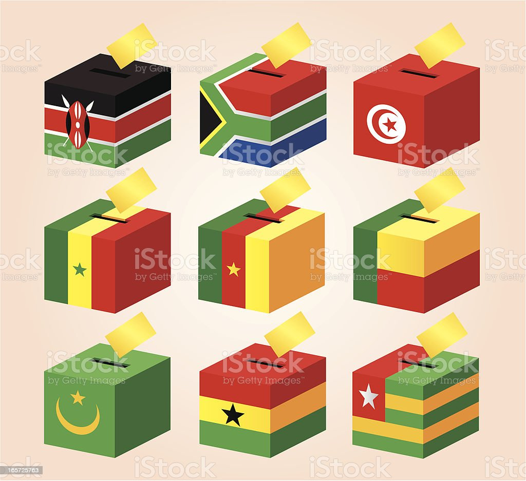 Voting Boxes with National Flag royalty-free stock vector art