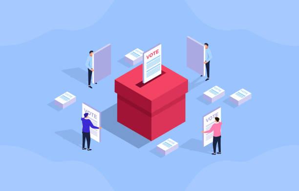 ilustraciones, imágenes clip art, dibujos animados e iconos de stock de votar, hombre de negocios sosteniendo una boleta para votar - polling place