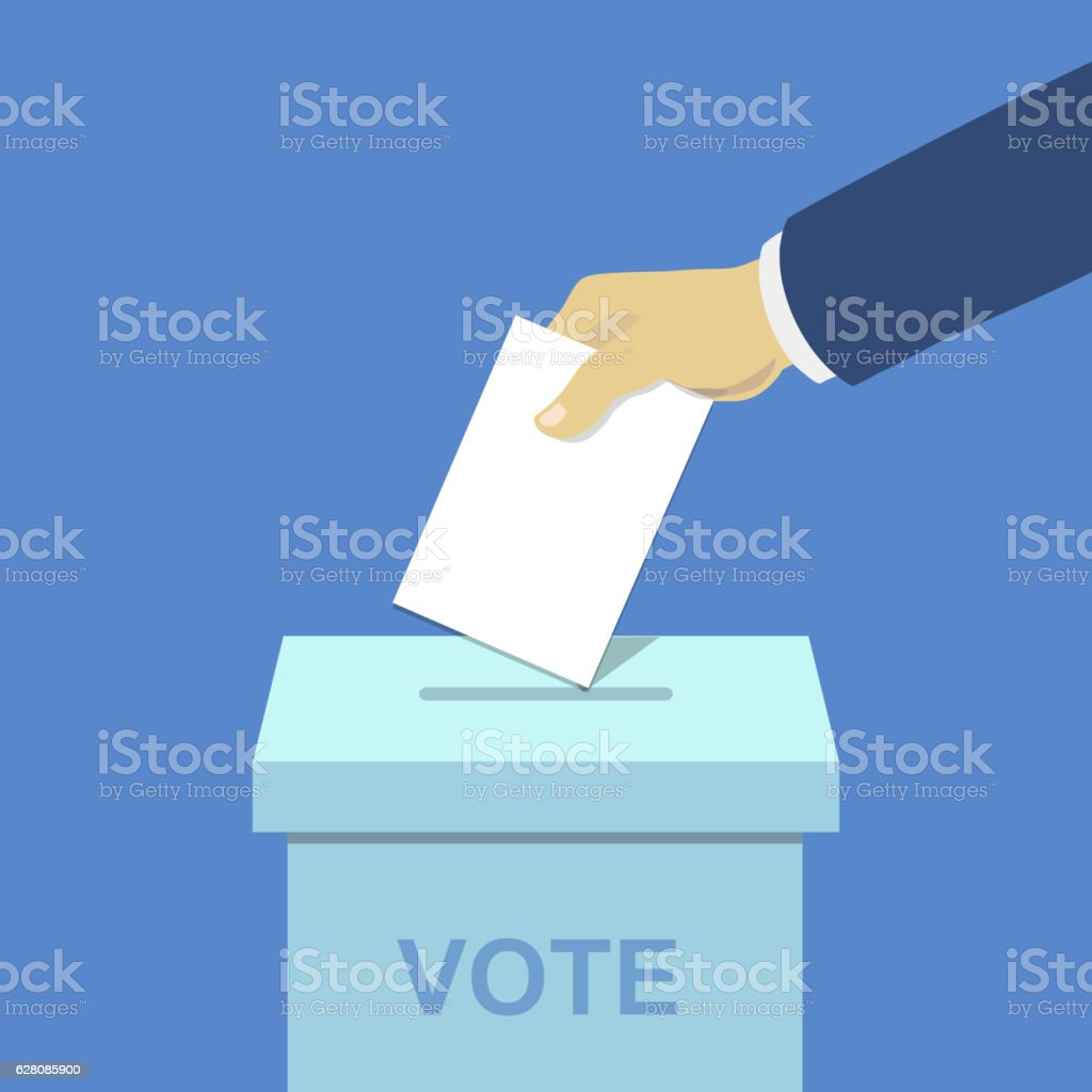 Voting concept, hand putting paper in the ballot box, vector art illustration