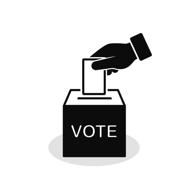 voting concept icon in flat style. hand putting voting paper in ballot box. vector - vote stock illustrations