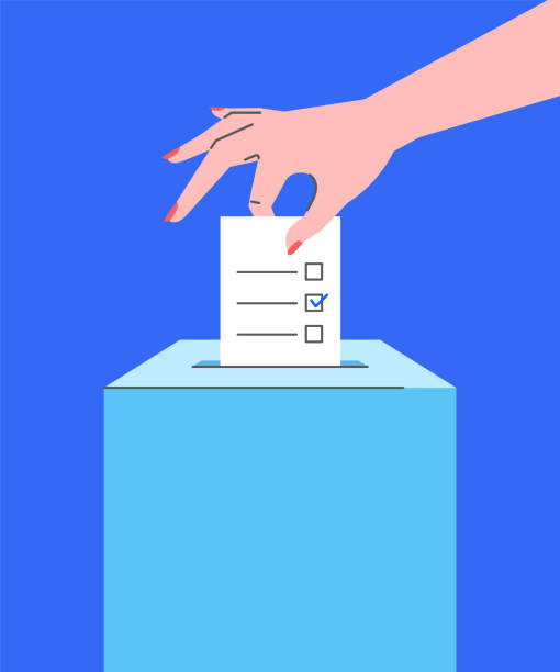 voting concept with hand putting ballot into box - ballot stock illustrations