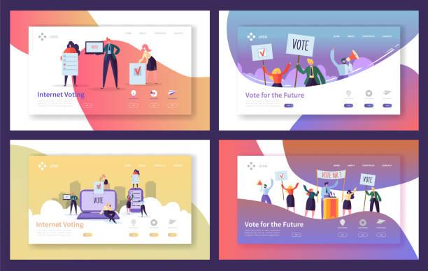 ランディング ・ ページ ・ テンプレートの選挙の投票を設定します。ビジネス人々 の文字のインターネット投票、政治集会の web サイトまたは web ページの概念。ベクトル図 - webサイト点のイラスト素材/クリップアート素材/マンガ素材/アイコン素材
