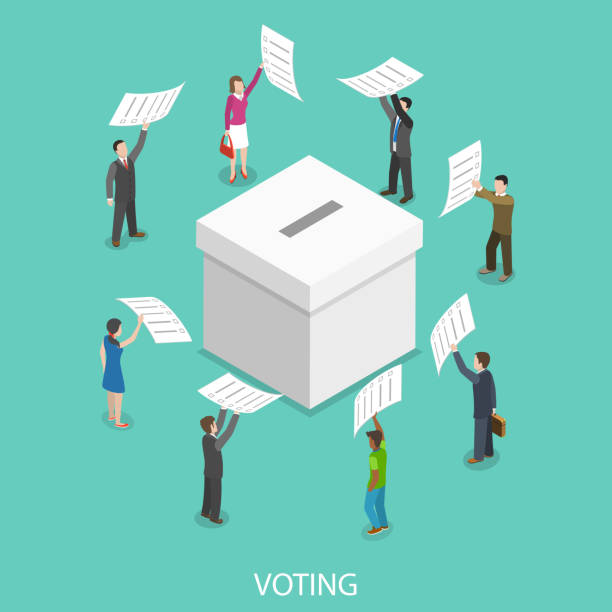 Voting flat isometric vector concept. Voting flat isometric vector concept. People are putting their ballot papers into the big paper voting box. democracy stock illustrations