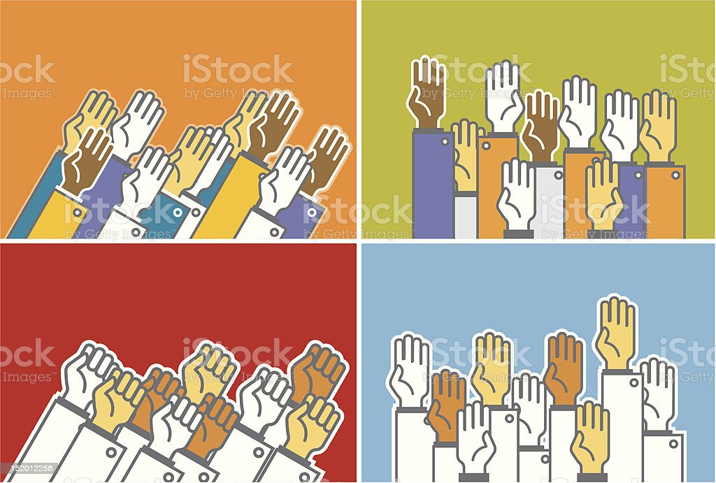 Voting group of people - symbolic human's hands royalty-free stock vector art