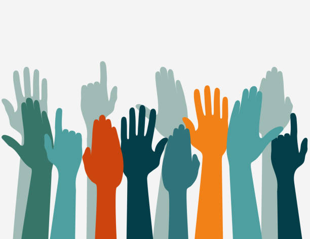 Voting hand Raised up, Election concept. Arms in the top Hands up Colors, Voting hand Raised up, Election concept. Arms in the top. Vector party conference stock illustrations