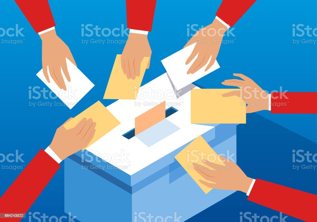 Voting hands and ballot box royalty-free voting hands and ballot box stock illustration - download image now