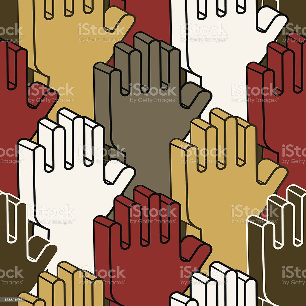 Voting hands - seamless pattern vector art illustration
