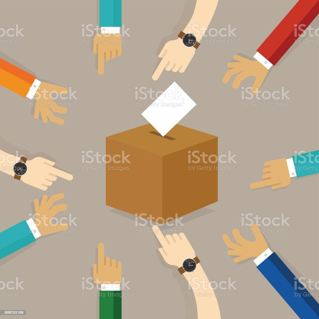 voting or polling election. people cast their vote insert paper their choice into the box. concept of participation togetherness on decision making vector art illustration