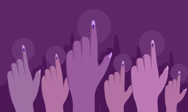 ilustrações de stock, clip art, desenhos animados e ícones de voting power of indian women. conceptual illustration - dedo humano