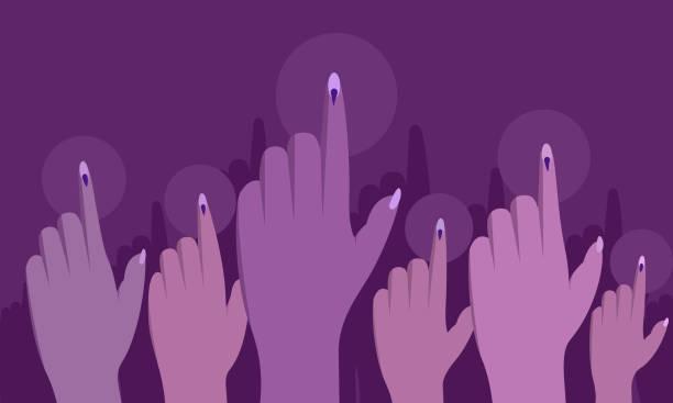 stockillustraties, clipart, cartoons en iconen met stemrechten van indiase vrouwen. conceptuele afbeelding - menselijke vinger