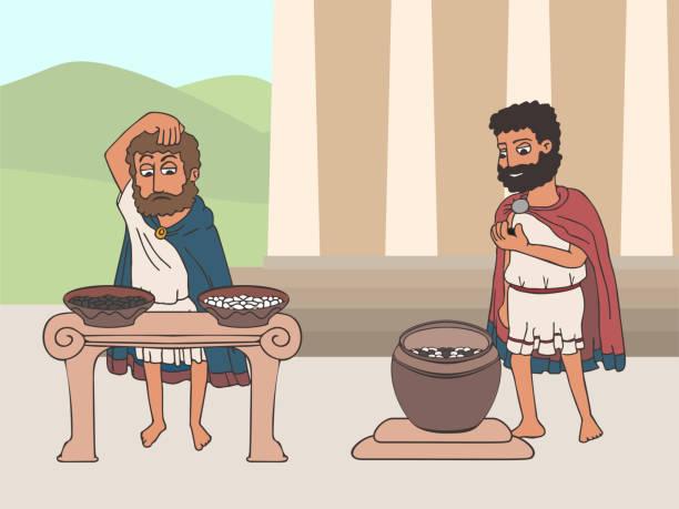 abstimmungsprozess in alter greece-karikatur - paphos stock-grafiken, -clipart, -cartoons und -symbole