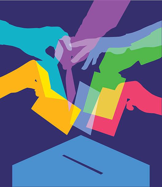 ilustraciones, imágenes clip art, dibujos animados e iconos de stock de de votar - polling place
