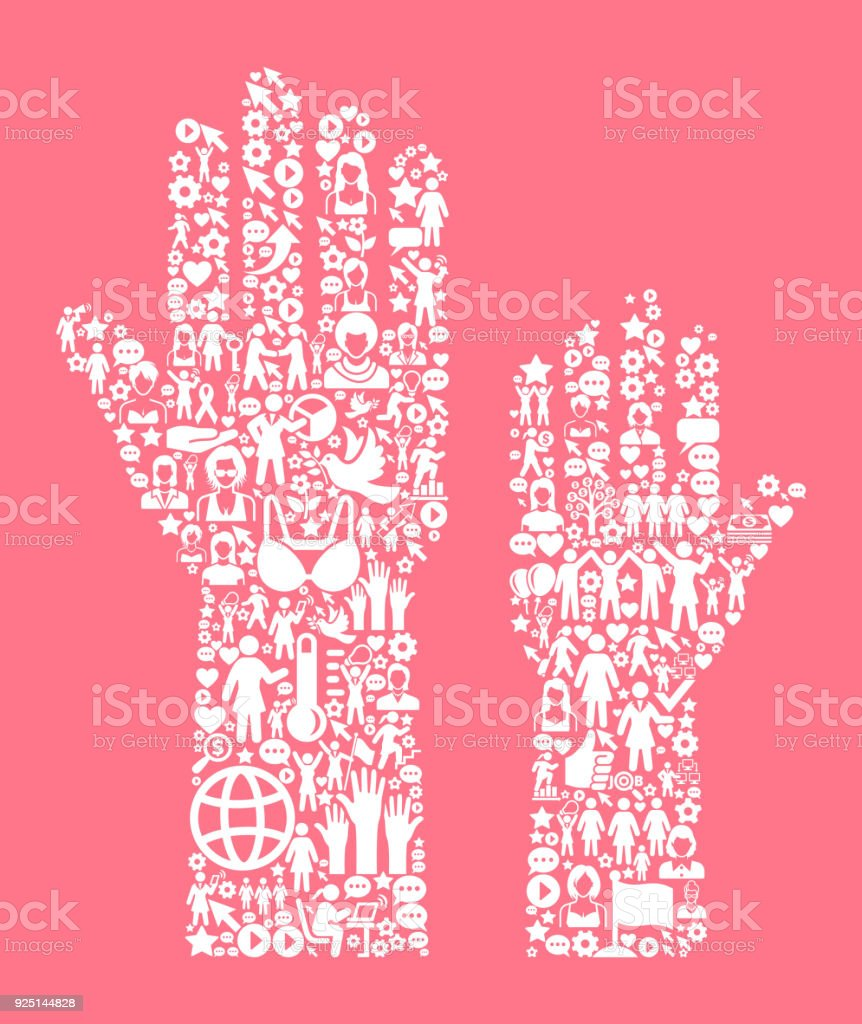 Voting Women's Rights and Girl Power Icon Pattern vector art illustration