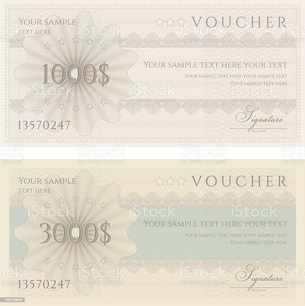 Voucher / Coupon / Gift Cerificate template (banknote, money, currency, cheque, check) royalty-free stock vector art