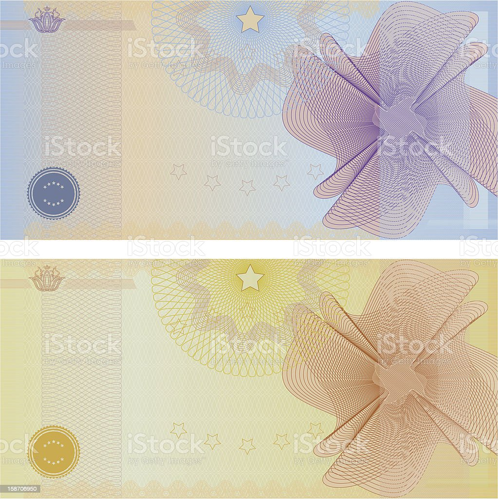Voucher / Coupon / Gift certificate template (banknote, money, currency, cheque, check) royalty-free stock vector art