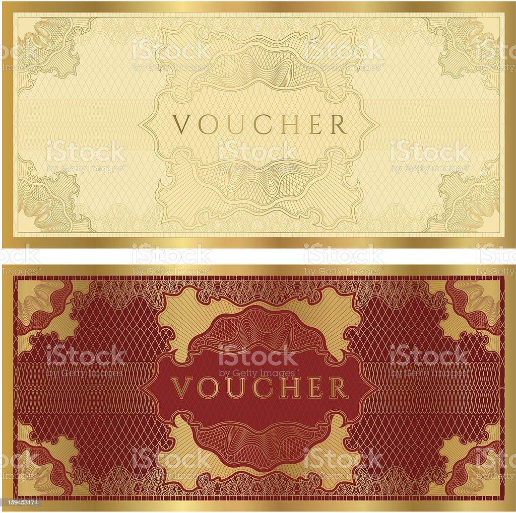 Voucher / Coupon / Gift Certificate Template (banknote, Money, Currency,  Cheque,  Money Voucher Template