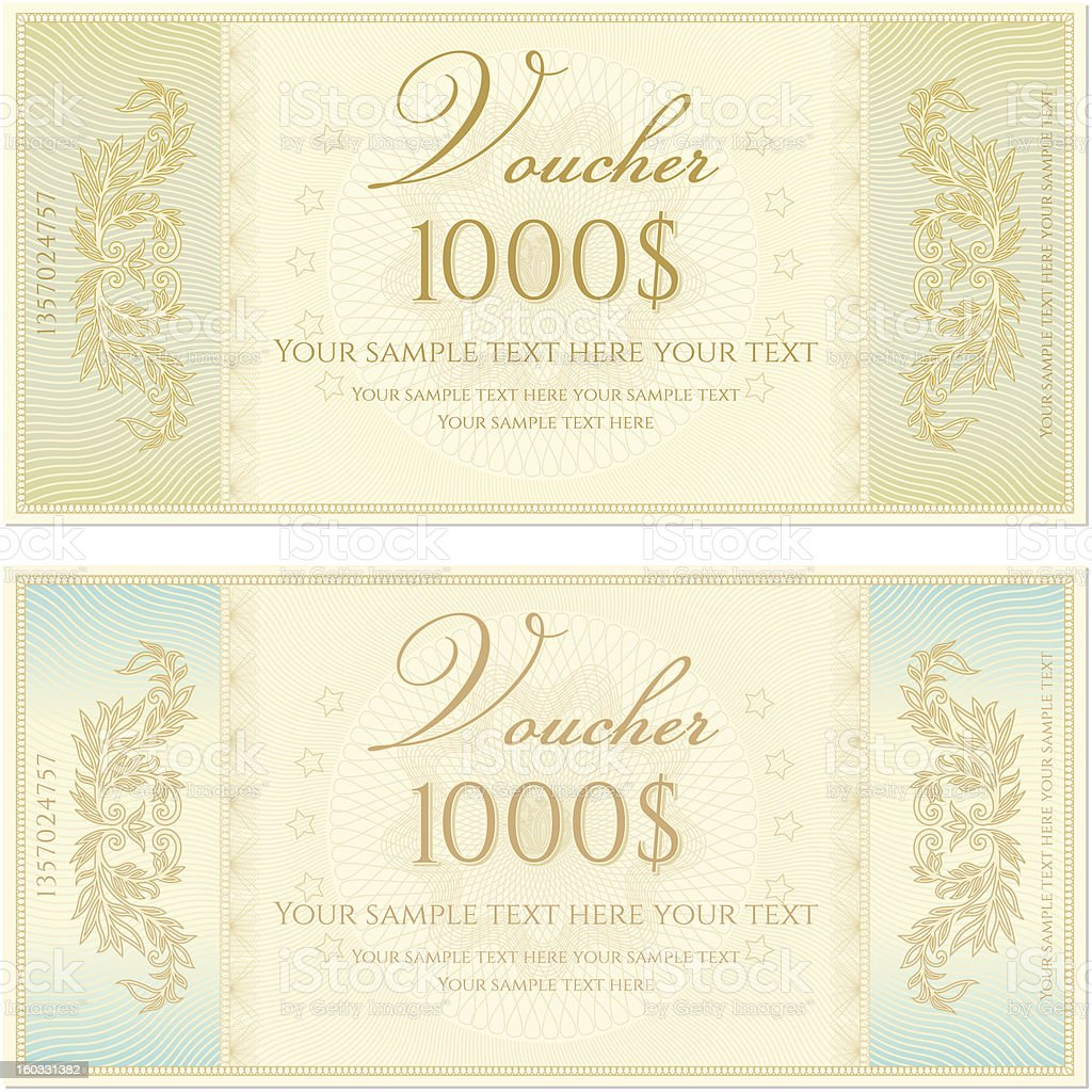 Voucher coupon gift certificate template stock vector art more voucher coupon gift certificate template banknote money currency cheque yadclub Gallery