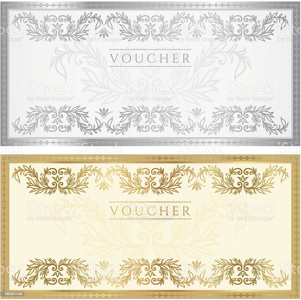 Voucher / Coupon / Gift Certificate Template ((banknote, Money, Currency,  Cheque  Money Certificate Template