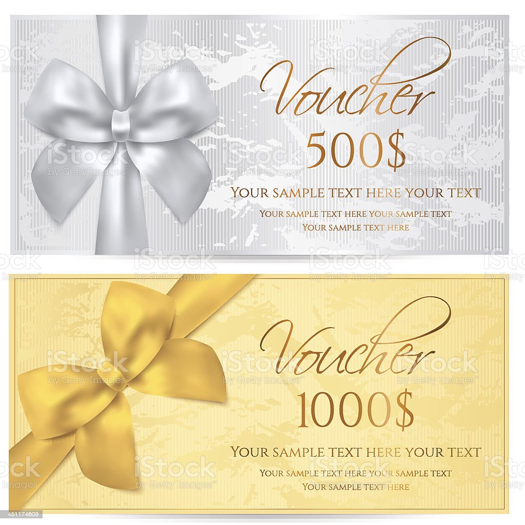 Voucher / Coupon / Gift Certificate Template With Bow ( Money, Cheque,  Check)  Money Voucher Template