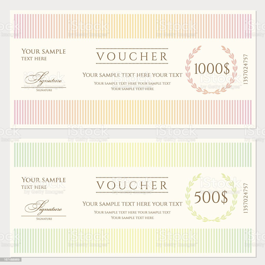 Voucher coupon template stock vector art 167488969 istock voucher coupon template banknote money currency cheque check royalty pronofoot35fo Gallery