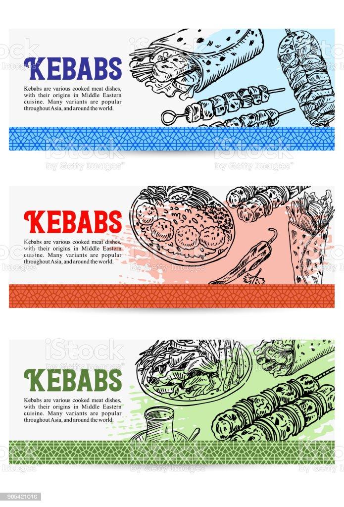 Gutschein-Design, von Hand gezeichnetes Türkisches Essen, Vektor-Illustration - Lizenzfrei Adana Vektorgrafik