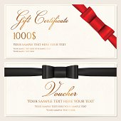 Voucher, Gift certificate, Coupon, Invitation or Gift card template with red / black (bow tie) bow (ribbon), floral (scroll) pattern, gold text. Background design for banknote, check (cheque). Vector
