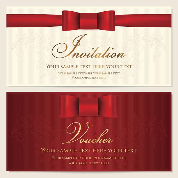 stockillustraties, clipart, cartoons en iconen met voucher, gift certificate / card, coupon, invitation template with red bow - birthday gift voucher