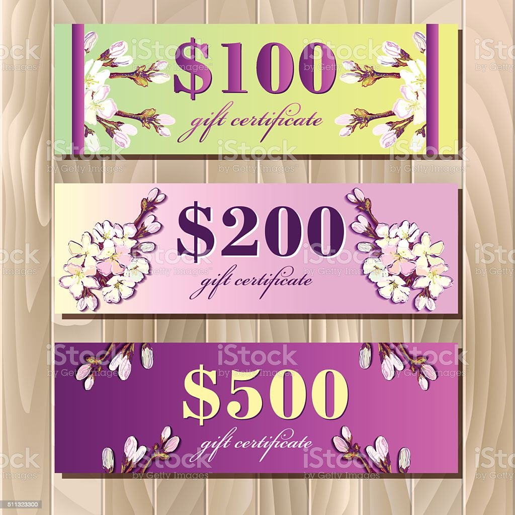 Voucher Gift Certificate Coupon Template Spring Design Stock Vector