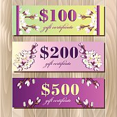 Voucher, Gift certificate, Coupon template. Spring design.