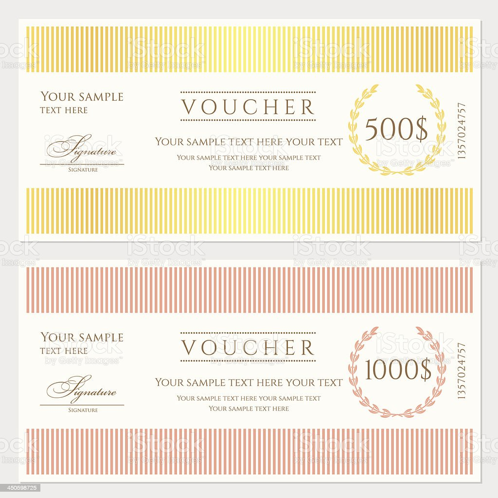 Voucher / Gift Certificate / Coupon Template (banknote, Money, Currency,  Cheque,  Check Voucher Template